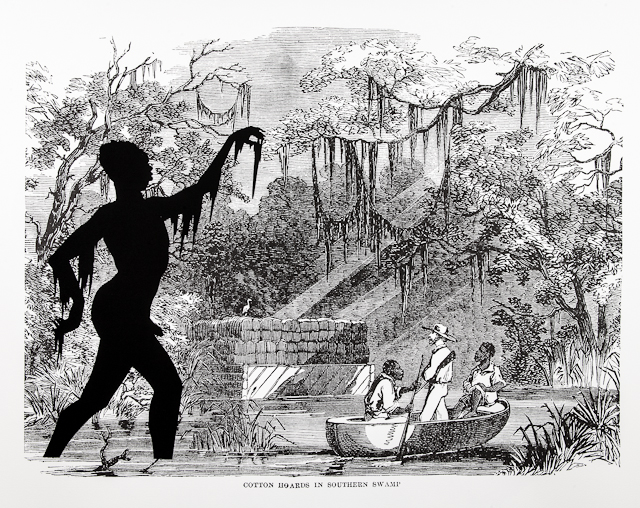 In Cotton Hoards in Southern Swamp, a silhouette of a nude male figure appears in the left side of the foreground. The figure walks towards the right with his arms outstretched. In the background image, a woodcut print from Harper's Pictorial History of the Great Rebellion (1866), three men in a small boat row past cotton bales in a swamp. The moss hanging from the silhouette's arms mimics the moss that hangs from the trees in the background swamp.