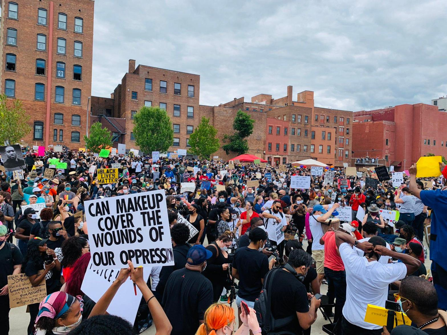 Thousands gathered at Troy's Riverfront Park before marching through city streets Sunday afternoon, June 7, 2020. Photograph credit: Jesse King/WAMC. Photograph source: https://www.wamc.org/post/thousands-march-racial-justice-rally-troy